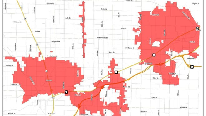 A map of affected areas in Ottawa County that will go under a sprinkling ban beginning Tuesday, Aug. 11 at 6 a.m.
