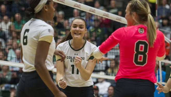 CSU sophomore middle blocker Paulina Hougaard-Jensen, shown during Thursday's match, led the Rams in Saturday's win over Nevada with six blocks.