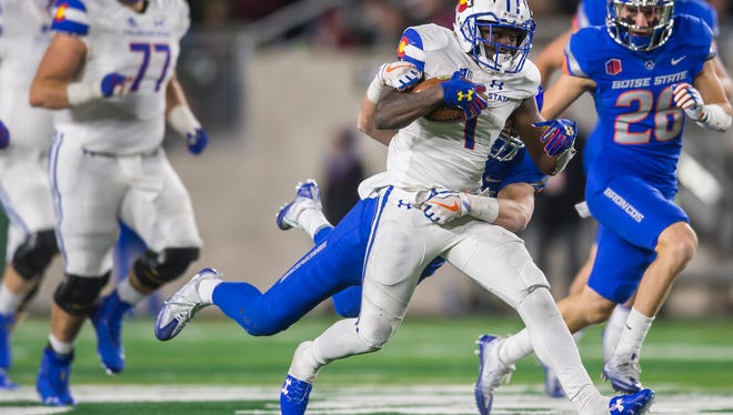 CSU running back Dalyn Dawkins (1) missed the end of Saturday's overtime defeat to Boise State while in concussion protocol, but coach Mike Bobo says he has been cleared to practice.