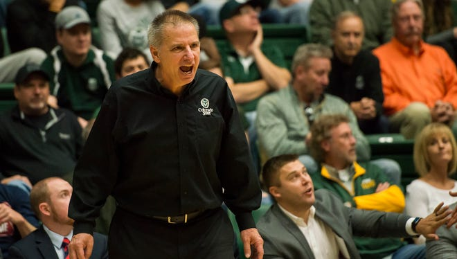 CSU men's basketball head coach Larry Eustache reacts to a call during a game against CU played on Saturday, Dec. 2, 2017, at Moby Arena in Fort Collins, Colo.
