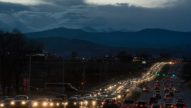 Eastbound traffic backs up at the East Harmony Road overpass over Interstate 25 on Wednesday.