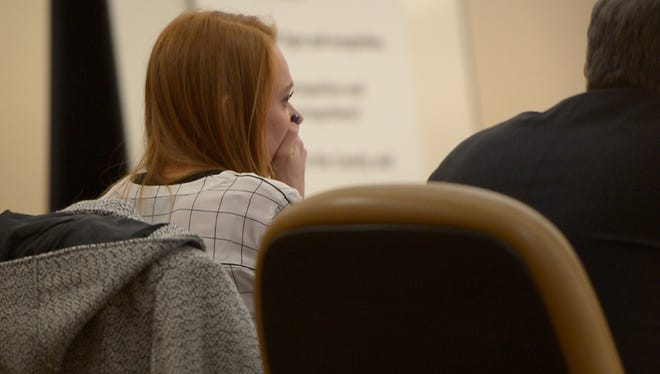 Michaella Surat looks on after her attorney give an opening statement to the jury on Monday, Jan. 8, 2018, at the Larimer County Justice Center in Fort Collins, Colo.