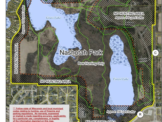 This map shows designated hunting areas in Nashotah