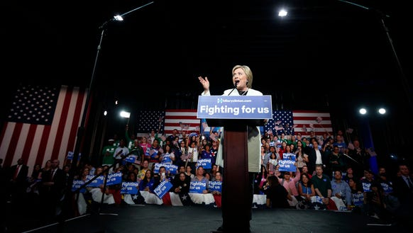 Hillary Clinton addresses supporters at her Super Tuesday