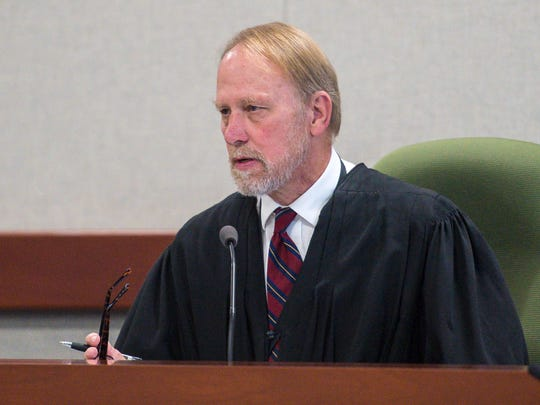 Superior Court Judge Dennis Pearson explains why he ordered a new jury pool drawn in the Chavis Murphy murder trial in Burlington on Tuesday, October 24, 2017. Murphy is accused of shooting and killing Obafemi Adedapo in 2015.  Two juror of the 15 jurors sitting on the trial were dismissed after telling the court they had seen news coverage of the trial since being sworn in.