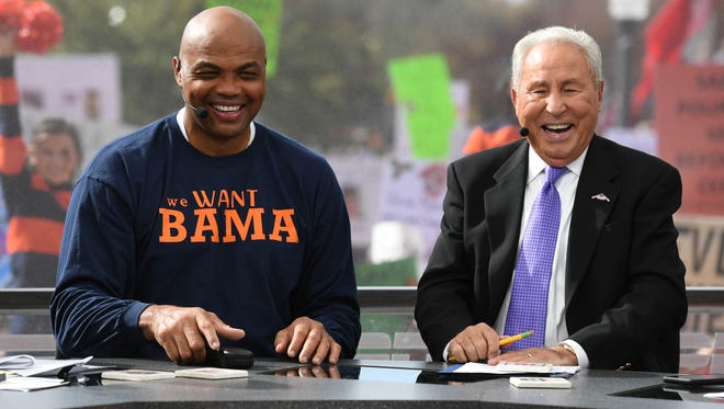Charles Barkley and Lee Corso on College GameDay before the game between the Auburn Tigers and the Alabama Crimson Tide at Jordan-Hare Stadium.