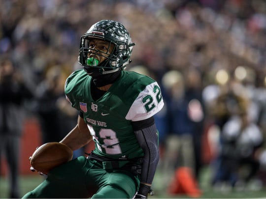 Freehold vs Long Branch NJSIAA state championship football.  Elijah Sherin reacts after catching a catch in the end zone for the game winning two point conversion. Piscataway, NJSaturday, December 2, 2017@dhoodhood