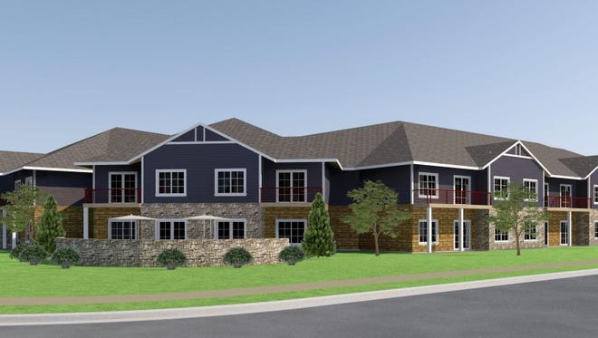This rendering shows a planned apartment development at the northeast corner of Taft Hill Road and West Drake Road in west Fort Collins.