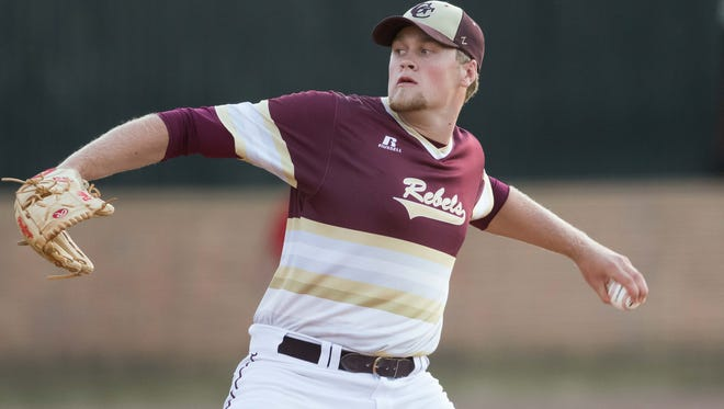 George County pitcher Walker Robbins delivers against Brandon during the Class 6A quarterfinals. George County won 3-2.