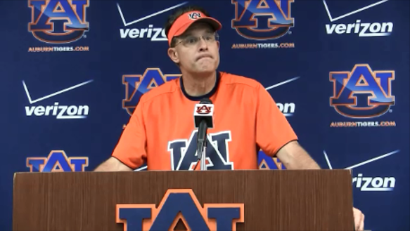 Auburn coach Gus Malzahn will be on the practice field