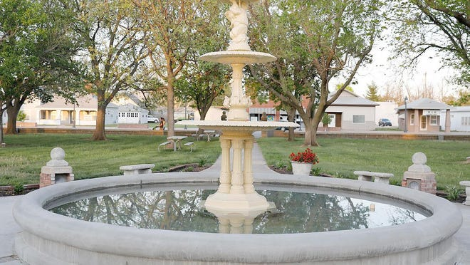 After a year, the Mosely Memorial Fountain has returned to its proper place in the center of the town square in St. John. The fountain was cleaned and powder coated while a new bowl was constructed. The fountain will be turned on once work on the pump is finished.