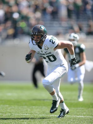 MSU wide receiver Davis Lewandowski in the spring game Saturday.