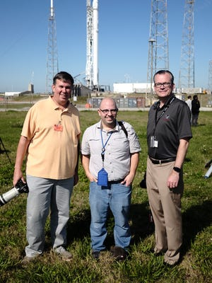 The We Report Space team, from left to right: Bill Jelen of Merritt Island; Jared Haworth, of Raleigh, North Carolina; and Michael Seeley of Melbourne.