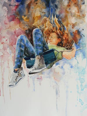 """Steve Henry's """"Flying High"""", 36""""x28"""" Watercolor on paper features his youngest daughter pictured on a swing-set and is currently on display at the Springfield Art Museum: Watercolor USA 2017 Exhibit."""