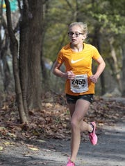 Chambersburg's Camryn Kiser, 13, competes in the Foot Locker Northeast 13-14 cross country race on Nov. 25. Kiser placed third in the 5K race with a time of 20:05.