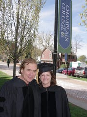 Honorary degrees were presented to Jake Burton Carpenter and Donna Carpenter of Burton Snowboards. He is the company founder and she is CEO.