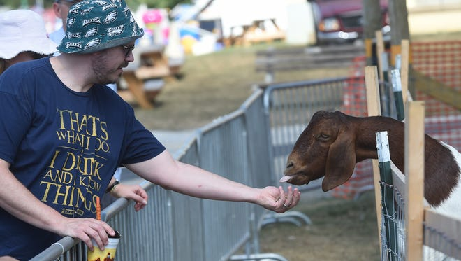 Brendan Bloss of East Berlin reaches out to feed one of the residents of Goat Mountain at the York Fair. Attendance has been down slightly at the fair this year. Officials are hoping for big crowds over the weekend.