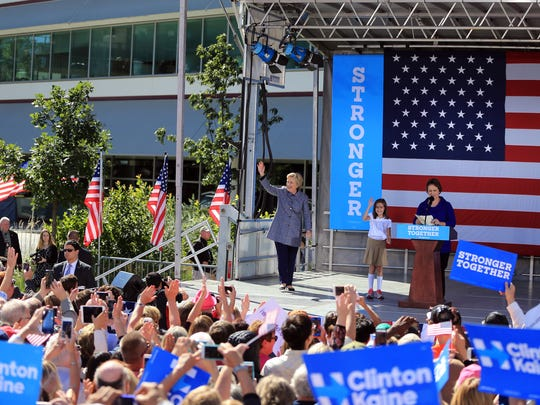 Democratic presidential candidate Hillary Clinton arrives at a campaign stop in Des Moines, Thursday, Iowa, Sept. 29, 2016.