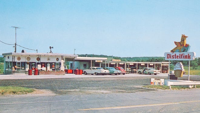 The Distelfink Drive-In in Straban Township was one of half a dozen Distelfink Drive-In locations that peppered the state of Pennsylvania in the '50s. In this picture from a postcard of an unknown date are three cars from the early 1960s and one from the late 1950s.