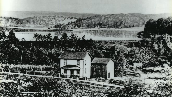 This was the South Fork Dam before the 1889 Johnstown flood. The collapse of the dam, 450 feet above the Pennsylvania town, is considered among the worst disasters in American history.