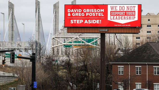 """A billboard message asking for businessman David Grissom, the board of trustees chairman, and Interim President Greg Postel to """"step aside"""" with the words """"your leadership is not supported by the Louisville community"""" is on display in Jeffersonville near I-65 southbound. March 1, 2018"""