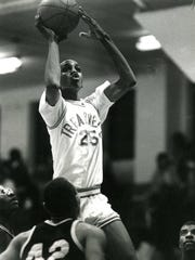 Anfernee 'Penny' Hardaway, of Treadwell High School, leads the unbeaten team  to an 89-64 win over Mitchell High School, December 16, 1988. Hardaway scored 40 points in the game, including eight three-pointers. Teammate Michael Pierce added 20 more.