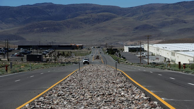 Businesses are seen on USA Parkway east of Reno on July 28, 2015.