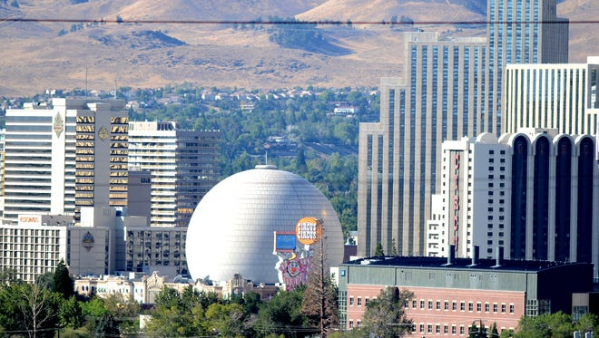 Clear and sunny skies are seen overhead of downtown Reno on Wednesday, Sept. 16, 2015.