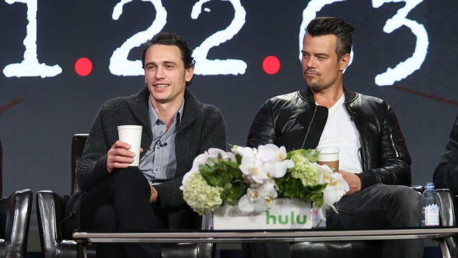 Actor James Franco and Josh Duhamel speak onstage during the 11.22.63 panel as part of the hulu portion of the 2016 Television Critics Association Winter Tour at Langham Hotel on January 9, 2016 in Pasadena, California.