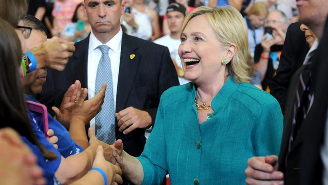 Hillary Clinton greets supporters Aug. 10, 2016 in Des Moines.