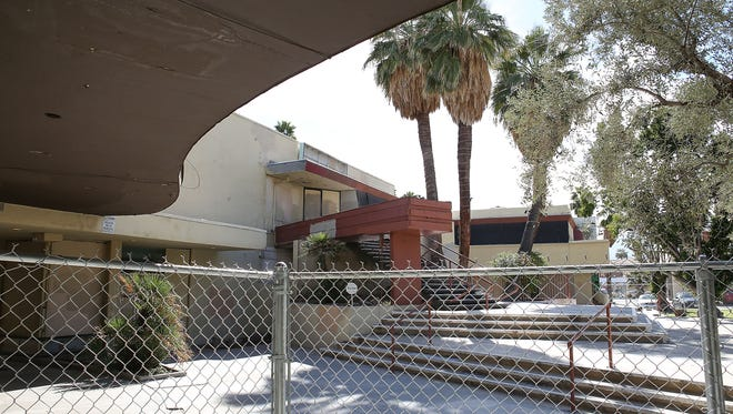 The Town & Country Center in downtown Palm Springs photographed here on February 22, 2017, is a complex of seven buildings built as a shopping district between 1946 to 1955, and designed primarily by Los Angeles architects A. Quincy Jones and Paul R. Williams.