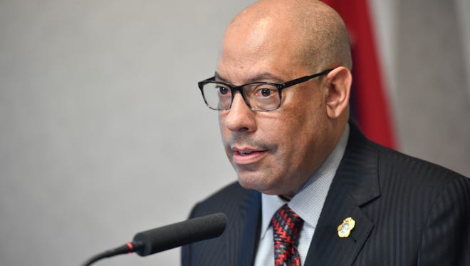 TBI Director Mark Gwyn speaks to the media at a press conference on Thursday,May 11, 2017 in Nashville, TN about Nashville Police Officer Joshua Lippert shot and killed Clemmons in the James A. Cayce Homes public housing complex in East Nashville.