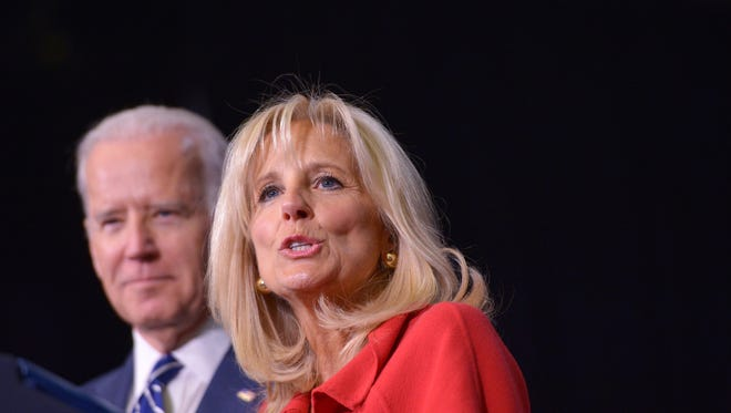 Jill Biden speaks as she introduces her husband, US Vice President Joe Biden, at Pellissippi State Community College in Knoxville, Tennessee on January 9, 2015. AFP PHOTO/MANDEL NGAN        (Photo credit should read MANDEL NGAN/AFP/Getty Images)