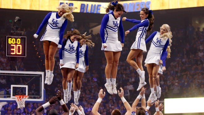 Kentucky's cheerleaders perform during UK's Big Blue Madness at Rupp Arena.