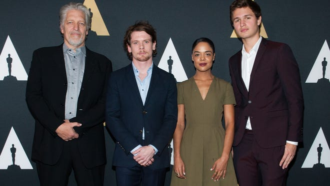 (L-R) Clancy Brown,  Jack O'Connell, Tessa Thompson and Ansel Elgort at the Academy Of Motion Picture Arts And Sciences' 2014 Academy Nicholl Fellowships In Screenwriting Awards & Live Read.