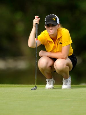Blanket's Marki Kinkade lines up her putt on the third green during the first round of the Class 1A UIL state golf tournament on Monday, May 15, 2017 at Lions Municipal Golf Course in Austin.
