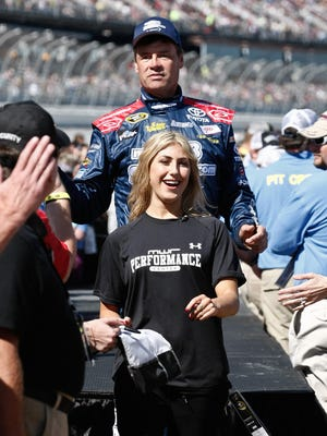 "Michael Waltrip and ""Dancing with The Stars"" dancer Emma Slater at Talladega Superspeedway."