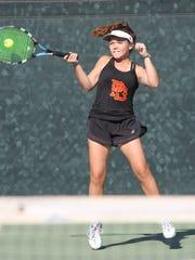 Sophie Gengler plays singles for Palm Desert against Orange Lutheran, November 1, 2017.