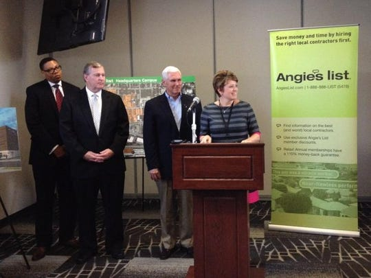 Angie Hicks (right) announces expansion plans with