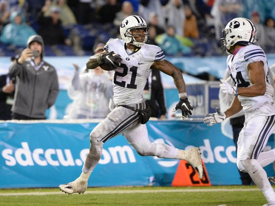 Brigham Young running back Jamaal Williams looks back