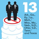 States with same-sex marriage bans. U.S. Supreme Court will hear cases Tuesday.