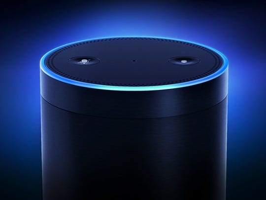 Amazon's Echo is a small cylinder with a seven-microphone array is powered by the Alexa intelligent personal assistant so users can interact with it via voice commands to control a wide variety of services ranging from music to smart home devices.