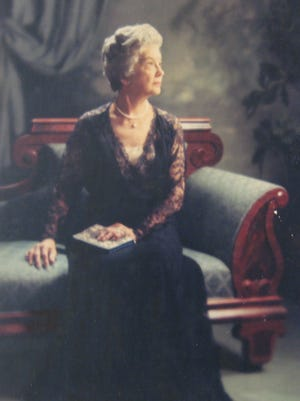 A photograph of Ruth Owen currently on display at the Smith Center from a retrospective of works by Margo Kent, a Staunton portrait photographer in the 1950s.