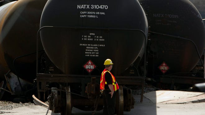 Work continued July 12 at the crash site on in Lac-Megantic, Quebec, of a train that derailed igniting tanker cars carrying crude oil that killed 50 people. Trains have become an vital way to move oil. AP
