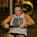 """Megan Heidlberg of WSPA's """"Your Carolina With Jack and Megan"""" works out. Heidlberg is participating in the Fit Family Challenge, a free healthy lifestyle program that offers classes, advice and nutrition tips."""