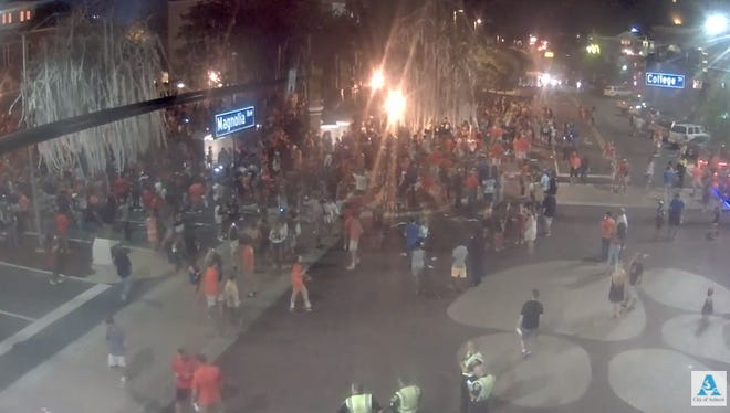Video screen grab from live video Saturday night at Toomer's Corner.