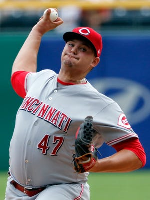Cincinnati Reds starting pitcher Sal Romano delivers in the third inning of a game against the Pittsburgh Pirates on Sunday, Sept. 3, 2017,  in Pittsburgh.