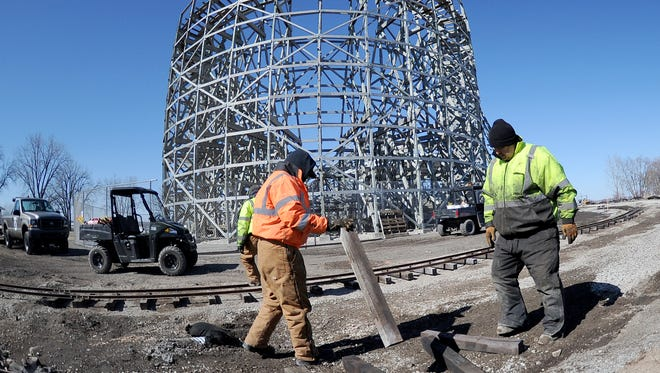 Bay Beach Amusement Park is undergoing changes during the off-season. Parks and Recreation Department workers have been busy laying down track for the new west side railroad that will travel behind and pass under the Zippin Pippin Friday, March 23, 2018 in Green Bay, Wis.