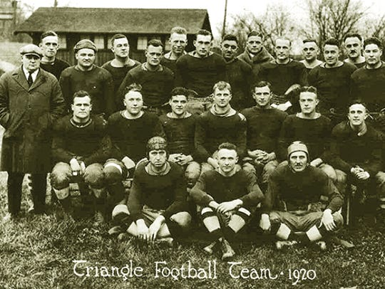 A historic photo shows the 1920 Triangle Football Team.