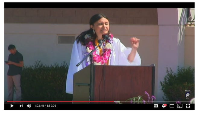 A screen capture from a YouTube video posted by Petaluma High School shows  Lulabel Seitz delivering her valedictorian speech on Saturday, June 2.